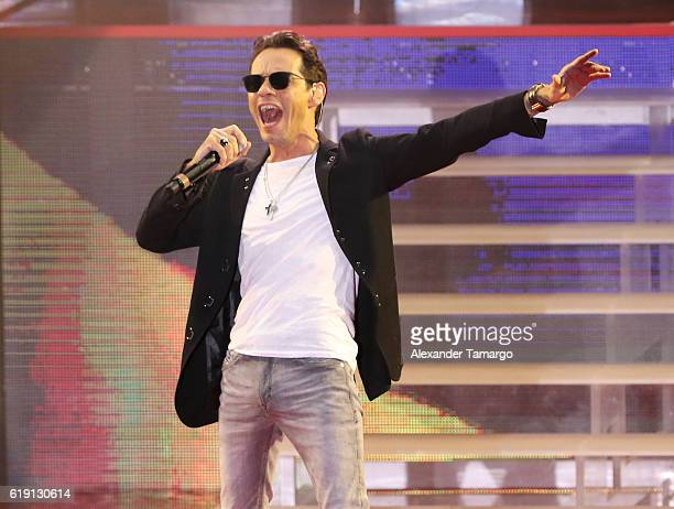 Marc Anthony performs at the Jennifer Lopez Gets Loud for Hillary Clinton at GOTV Concert in Miami at Bayfront Park Amphitheatre on October 29 2016...