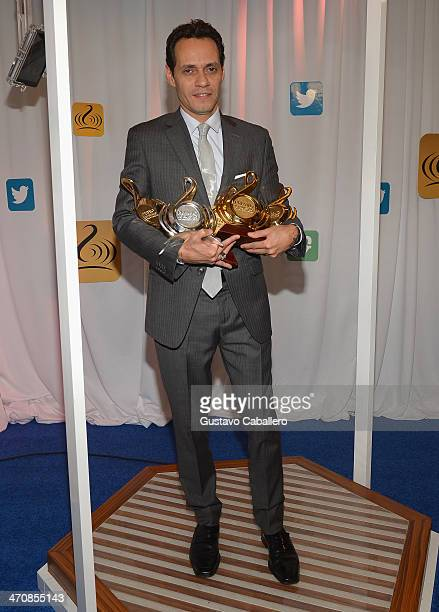 Marc Anthony poses backstage at Premio Lo Nuestro a la Musica Latina 2014 at American Airlines Arena on February 20 2014 in Miami Florida