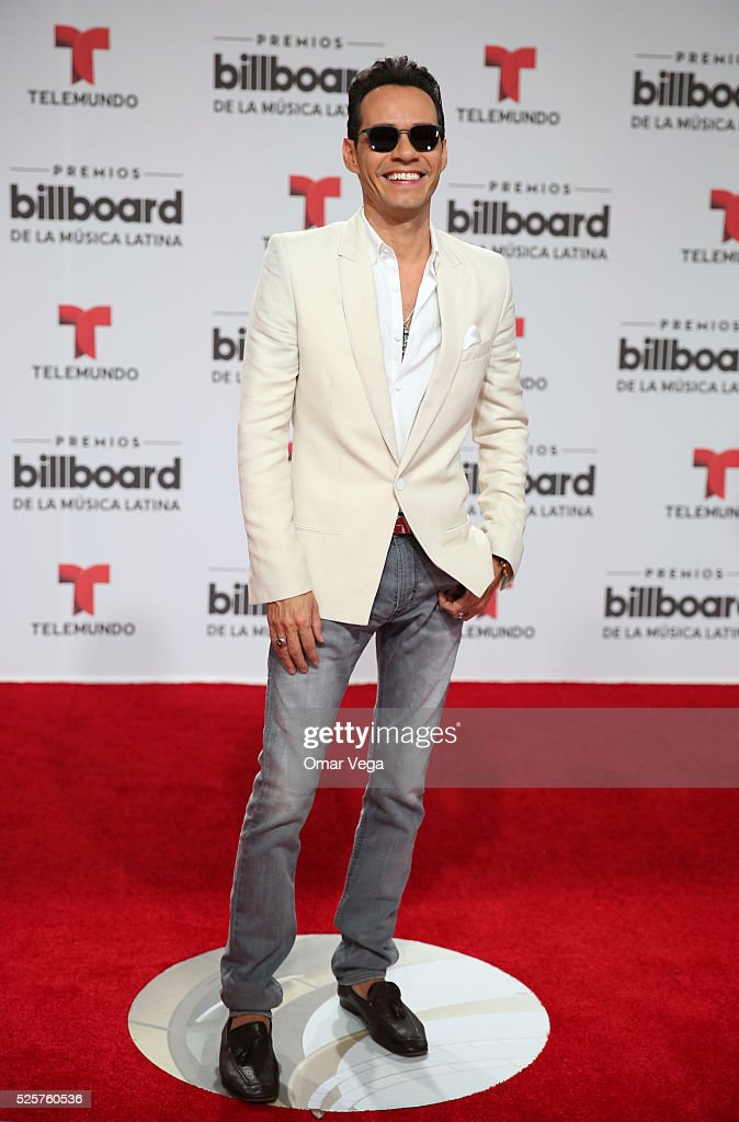 <a gi-track='captionPersonalityLinkClicked' href=/galleries/search?phrase=Marc+Anthony&family=editorial&specificpeople=202544 ng-click='$event.stopPropagation()'>Marc Anthony</a> poses during the red carpet of Billboard Latin Music Awards 2016 at Bank United Center on April 28, 2016 in Miami, United States.