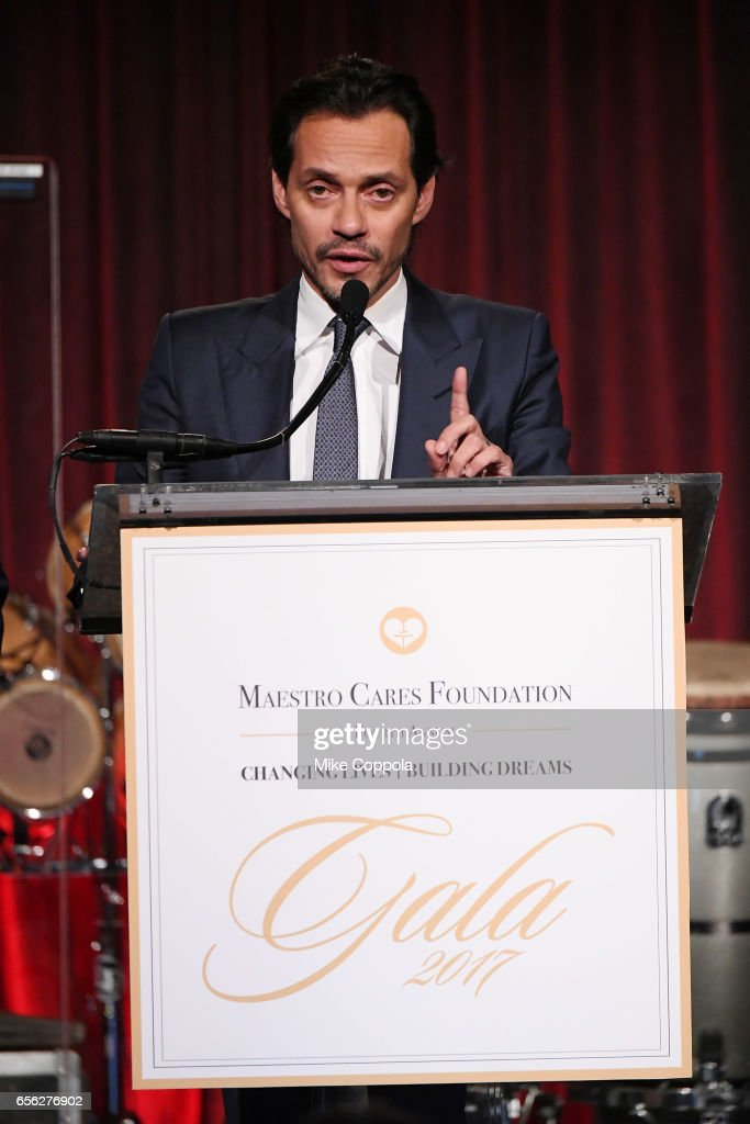 Marc Anthony speaks onstage at the Maestro Cares Foundation's fourth annual 'Changing Lives/Building Dreams' gala at Cipriani Wall Street on March 21, 2017 in New York City.