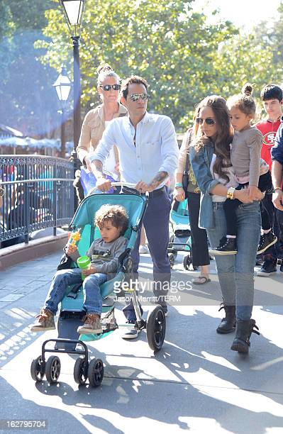 Marc Anthony with his twins Max and Emme and Mark's new girlfriend Chloe Green sighting at Disneyland February 26 2013 in Anaheim California