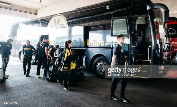 Marc Aregall Bartra of Dortmund arrives next to the team bus prior to the Bundesliga match between Bayern Muenchen and Borussia Dortmund at Allianz...