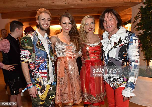 Marc Aurel Joelina Drews Ramona Drews and Juergen Drews during the Weisswurstparty at Hotel Stanglwirt on January 22 2016 in Going Austria