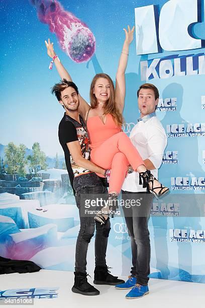 Marc Aurel Zeeb Joelina Drews and Rocco Stark attend the 'Ice Age Kollision Voraus' German Premiere at CineStar on June 26 2016 in Berlin Germany