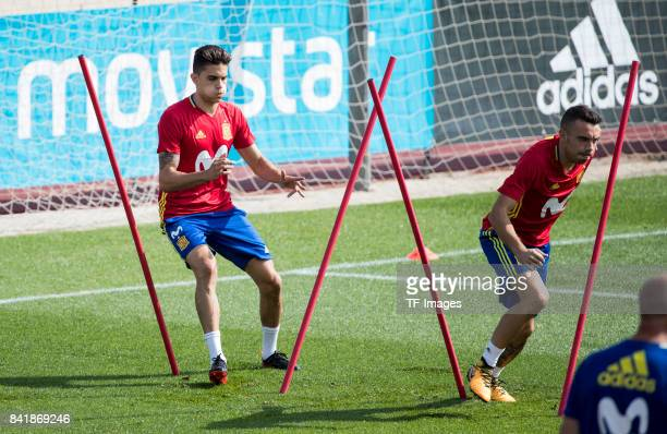 Marc Bartra and Iago Aspas looks on during a training session on August 29 2017 in Madrid Spain