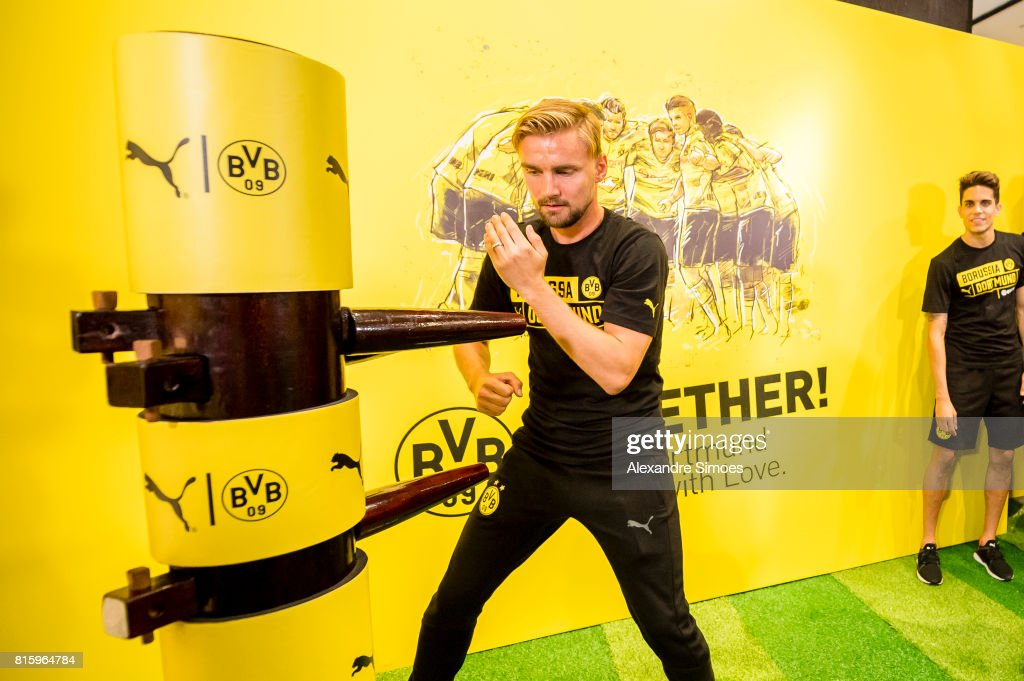 Marc Bartra and Marcel Schmelzer of Borussia Dortmund at the PUMA activity event in the Puma store Guangzhou during the Borussia Dortmund Summer Tour in Asia on July 17, 2017 in Guangzhou, China.