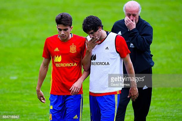 Marc Bartra and Mikel San Jose of Spain talks during a training session on May 27 2016 in Schruns Austria
