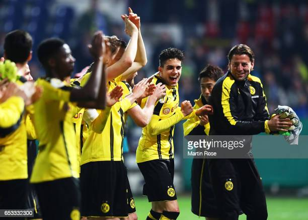 Marc Bartra Aregall of Borussia Dortmund celebrates after victory in the DFB Cup quarter final between Sportfreunde Lotte and Borussia Dortmund at...