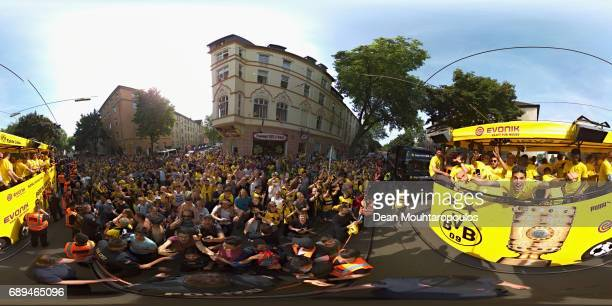 Marc Bartra celebrates on the bus during a parade near Borsigplatz for the celebrations of Borussia Dortmund's DFB Cup win on May 28 2017 in Dortmund...