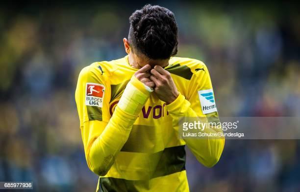 Marc Bartra cries after winning the Bundesliga match between Borussia Dortmund and Werder Bremen at Signal Iduna Park on May 20 2017 in Dortmund...