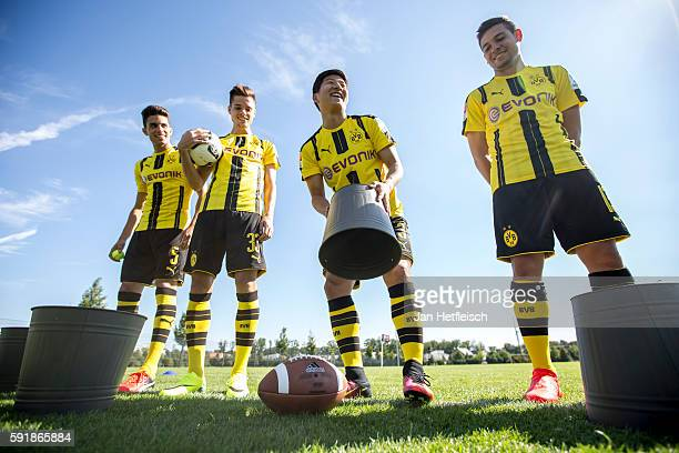 Marc Bartra Julian Weigl JooHo Park and Raphael Guerreiro are seen during the DFL Media Day on August 2016 in Dortmund Germany