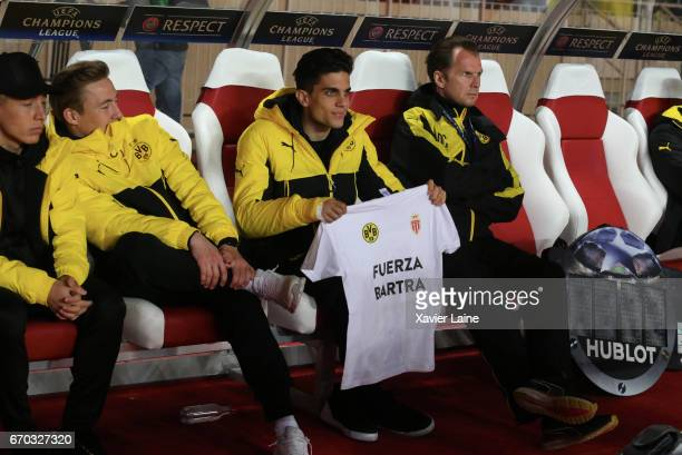 Marc Bartra of Borrussia Dortmund attends the UEFA Champions League Quarter Final second leg between AS Monaco and Borussia Dortmund at Stade Louis...
