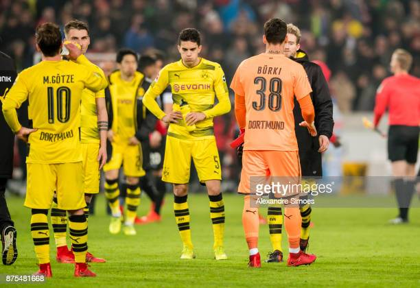 Marc Bartra of Borussia Dortmund after the final whistle during the Bundesliga match between VfB Stuttgart and Borussia Dortmund at MercedesBenz...