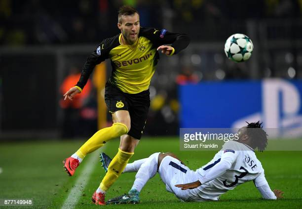 Marc Bartra of Borussia Dortmund and Danny Rose of Tottenham Hotspur in action during the UEFA Champions League group H match between Borussia...