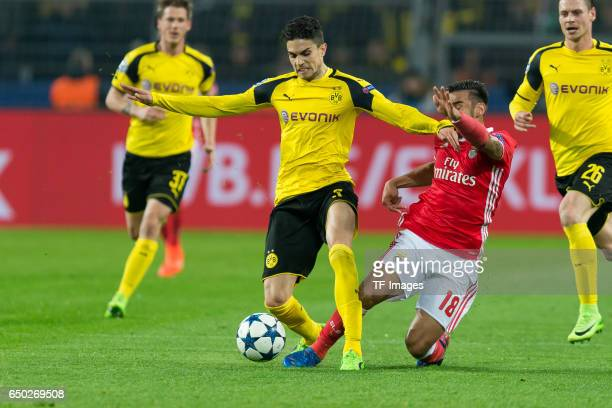 Marc Bartra of Borussia Dortmund and Toto Salvio of Benfica battle for the ball during the UEFA Champions League Round of 16 Second Leg match between...