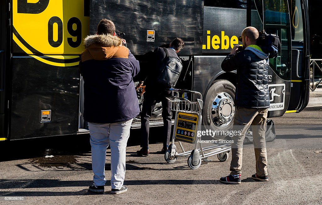 Marc Bartra of Borussia Dortmund at the airport prior to the Champions League match between Real Madrid CF and Borussia Dortmund at Estadio Santiago Bernabeu on December 06, 2016 in Madrid, Spain.