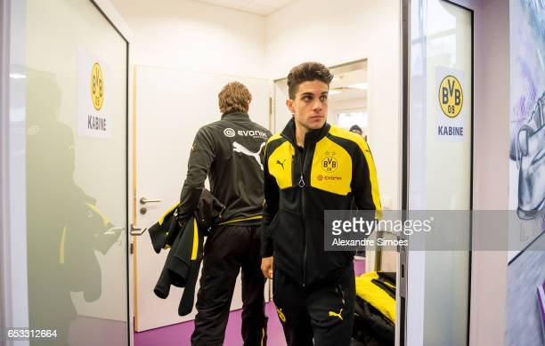 Marc Bartra of Borussia Dortmund at the changing room prior to the DFB Cup Quarter Final match between Sportfreunde Lotte and Borussia Dortmund at...