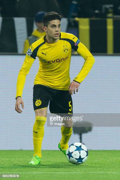 Marc Bartra of Borussia Dortmund controls the ball during the UEFA Champions League Round of 16 Second Leg match between Borussia Dortmund and SL...