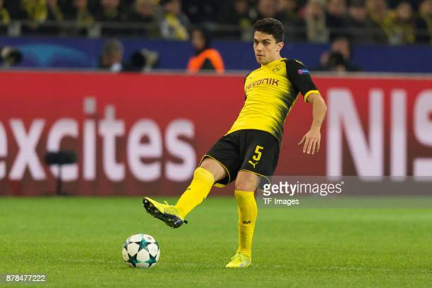 Marc Bartra of Borussia Dortmund controls the ball during the UEFA Champions League group H match between Borussia Dortmund and Tottenham Hotspur at...