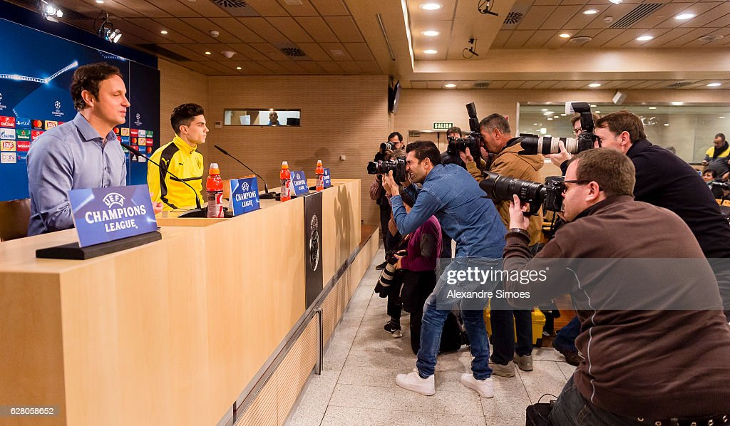 Marc Bartra of Borussia Dortmund during the press conference prior to the Champions League match between Real Madrid CF and Borussia Dortmund at Estadio Santiago Bernabeu on December 06, 2016 in Madrid, Spain.