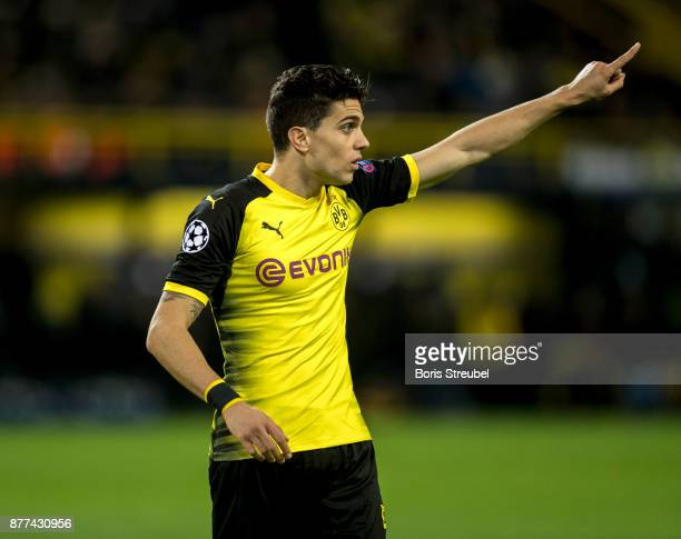 Marc Bartra of Borussia Dortmund gestures during the UEFA Champions League group H match between Borussia Dortmund and Tottenham Hotspur at Signal...