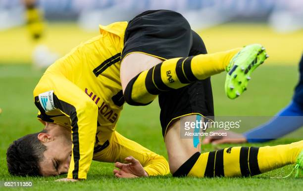 Marc Bartra of Borussia Dortmund in action during the Bundesliga match between Hertha BSC and Borussia Dortmund at the Olympiastadion on March 11...