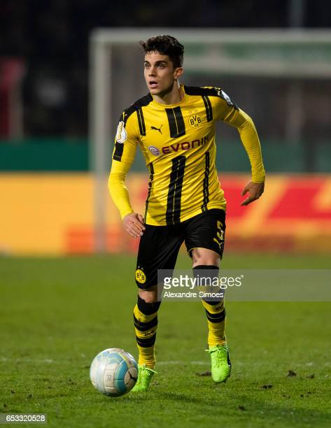 Marc Bartra of Borussia Dortmund in action during the DFB Cup Quarter Final match between Sportfreunde Lotte and Borussia Dortmund at the Stadion an...