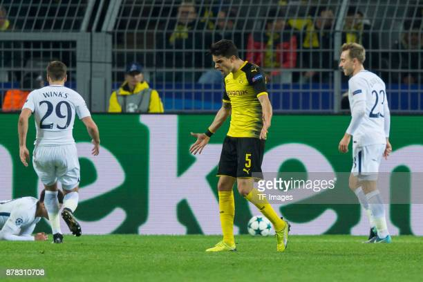 Marc Bartra of Borussia Dortmund look dejected during the UEFA Champions League group H match between Borussia Dortmund and Tottenham Hotspur at...