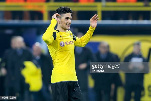 Marc Bartra of Borussia Dortmund looks on during the UEFA Champions League Round of 16 Second Leg match between Borussia Dortmund and SL Benfica at...
