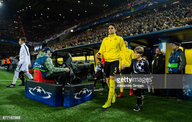 Marc Bartra of Borussia Dortmund on his way to the field prior to the UEFA Champions League match between Borussia Dortmund and Tottenham Hotspur at...
