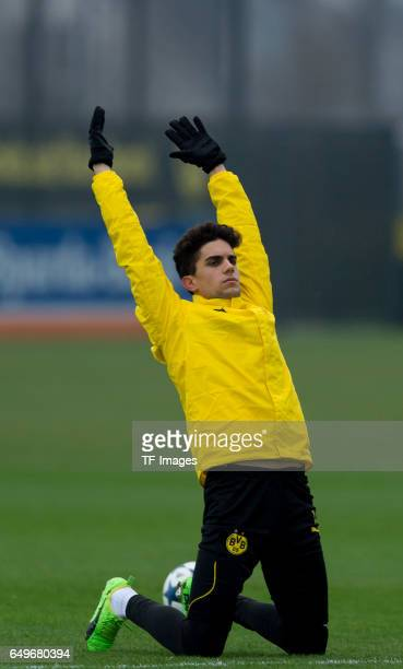 Marc Bartra of Borussia Dortmund prepares prior the training of Borussia Dortmund ahead of the UEFA Champions League Round of 16 second leg match...