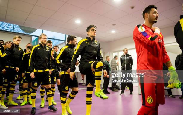 Marc Bartra of Borussia Dortmund prior to the DFB Cup Quarter Final match between Sportfreunde Lotte and Borussia Dortmund at the Stadion an der...