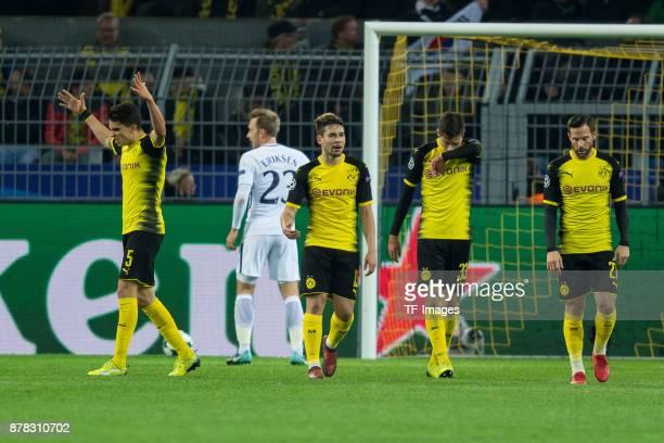 Marc Bartra of Borussia Dortmund Raphael Guerreiro of Borussia Dortmund Julian Weigl of Borussia Dortmund and Gonzalo Castro of Borussia Dortmund...