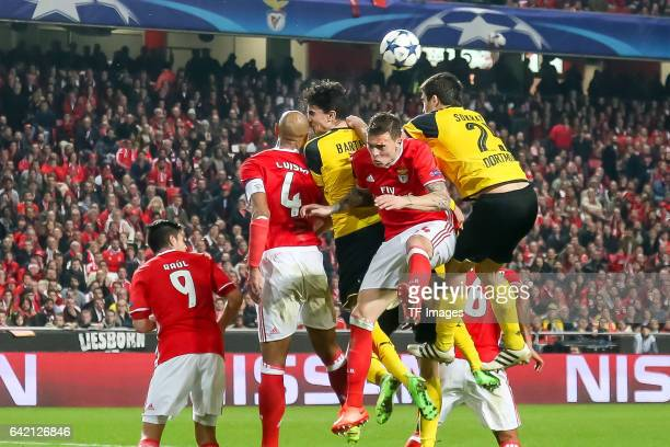 Marc Bartra of Borussia Dortmund Sokratis of Borussia Dortmund and Luisao of Benfica Victor Lindeloef of Benfica battle for the ball during the UEFA...