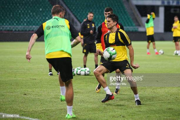 Marc Bartra of Borussia Dortmund was training at University Town Sports Centre Stadium on July 17 2017 in Guangzhou China