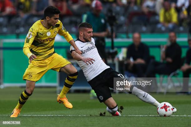 Marc Bartra of Dortmund and Ante Rebic of Frankfurt battle for the ball during the DFB Cup final match between Eintracht Frankfurt and Borussia...
