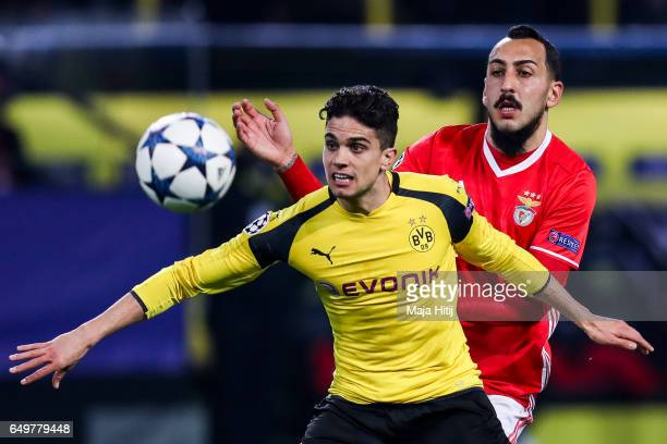 Marc Bartra of Dortmund and Kostas Mitroglou of Benfica battle for the ball during the UEFA Champions League Round of 16 second leg match between...