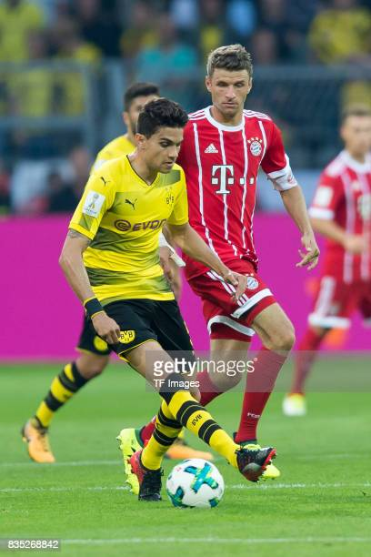 Marc Bartra of Dortmund and Thomas Mueller of Bayern Muenchen battle for the ball during the DFL Supercup 2017 match between Borussia Dortmund and...