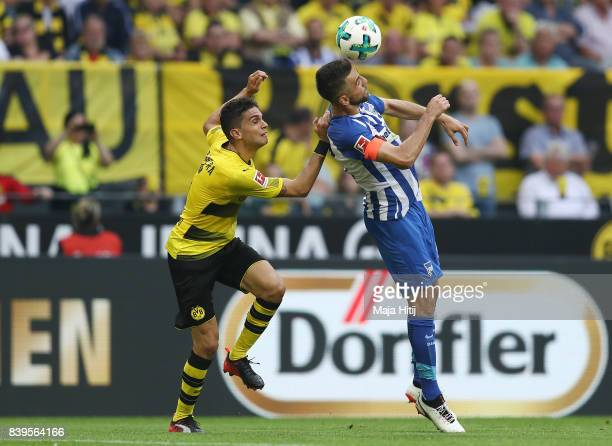 Marc Bartra of Dortmund and Vedad Ibisevic of Berlin during the Bundesliga match between Borussia Dortmund and Hertha BSC at Signal Iduna Park on...