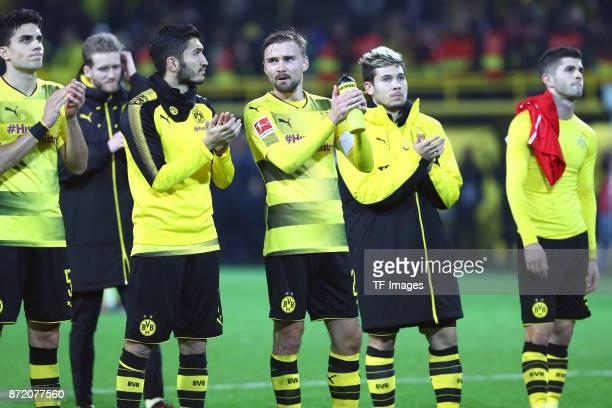 Marc Bartra of Dortmund Andre Schuerrle of Dortmund Nuri Sahin of Dortmund Marcel Schmelzer of Dortmund Raphael Guerreiro of Dortmund and Christian...