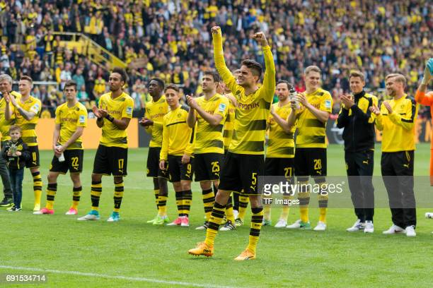 Marc Bartra of Dortmund celebrate their win during the Bundesliga match between Borussia Dortmund and Werder Bremen at Signal Iduna Park on May 20...