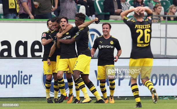 Marc Bartra of Dortmund celebrates after scoring his team's second goal with Gonzalo Castro Nuri Sahin DanAxel Zagadou Mario Goetze and Lukasz...