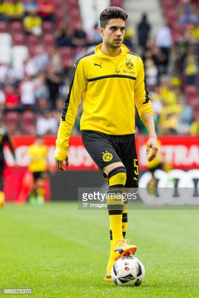 Marc Bartra of Dortmund controls the ball during the Bundesliga match between FC Augsburg and Borussia Dortmund at the WWKArena on May 13 2017 in...