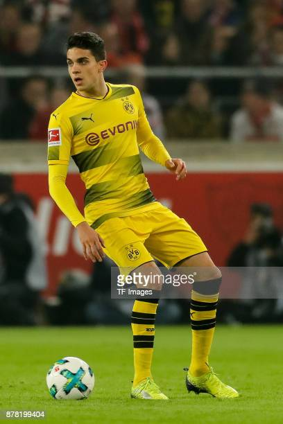Marc Bartra of Dortmund controls the ball during the Bundesliga match between VfB Stuttgart and Borussia Dortmund at MercedesBenz Arena on November...