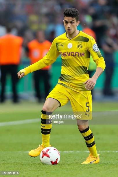 Marc Bartra of Dortmund controls the ball during the DFB Cup final match between Eintracht Frankfurt and Borussia Dortmund at Olympiastadion on May...