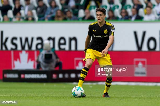 Marc Bartra of Dortmund controls the ball during to the Bundesliga match between VfL Wolfsburg and Borussia Dortmund at Volkswagen Arena on August 19...