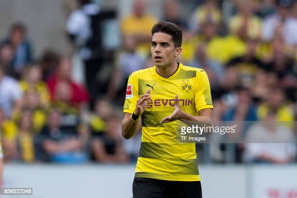 Marc Bartra of Dortmund gestures during the preseason friendly match between RotWeiss Essen and Borussia Dortmund at Stadion Essen on July 11 2017 in...