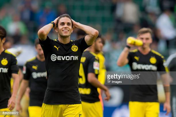 Marc Bartra of Dortmund gestures during to the Bundesliga match between VfL Wolfsburg and Borussia Dortmund at Volkswagen Arena on August 19 2017 in...