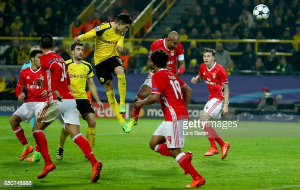 Marc Bartra of Dortmund goes up for a header during the UEFA Champions League Round of 16 second leg match between Borussia Dortmund and SL Benfica...
