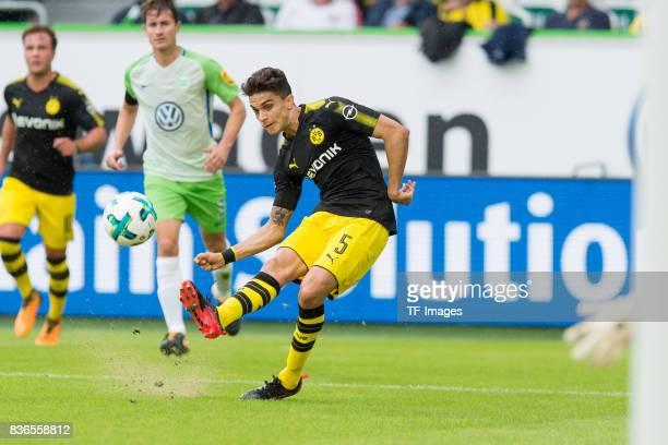 Marc Bartra of Dortmund in action during to the Bundesliga match between VfL Wolfsburg and Borussia Dortmund at Volkswagen Arena on August 19 2017 in...